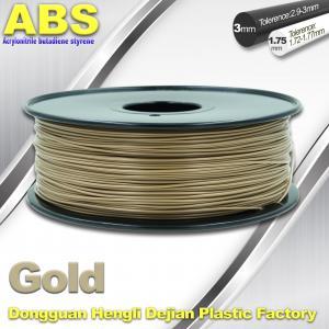 Buy cheap Custom Gold Conductive ABS 3d Printer Filament 1.75 mm / 3.0mm Plastic Materials product