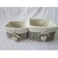 Buy cheap wicker gift basket set of two, with heart decoration from wholesalers