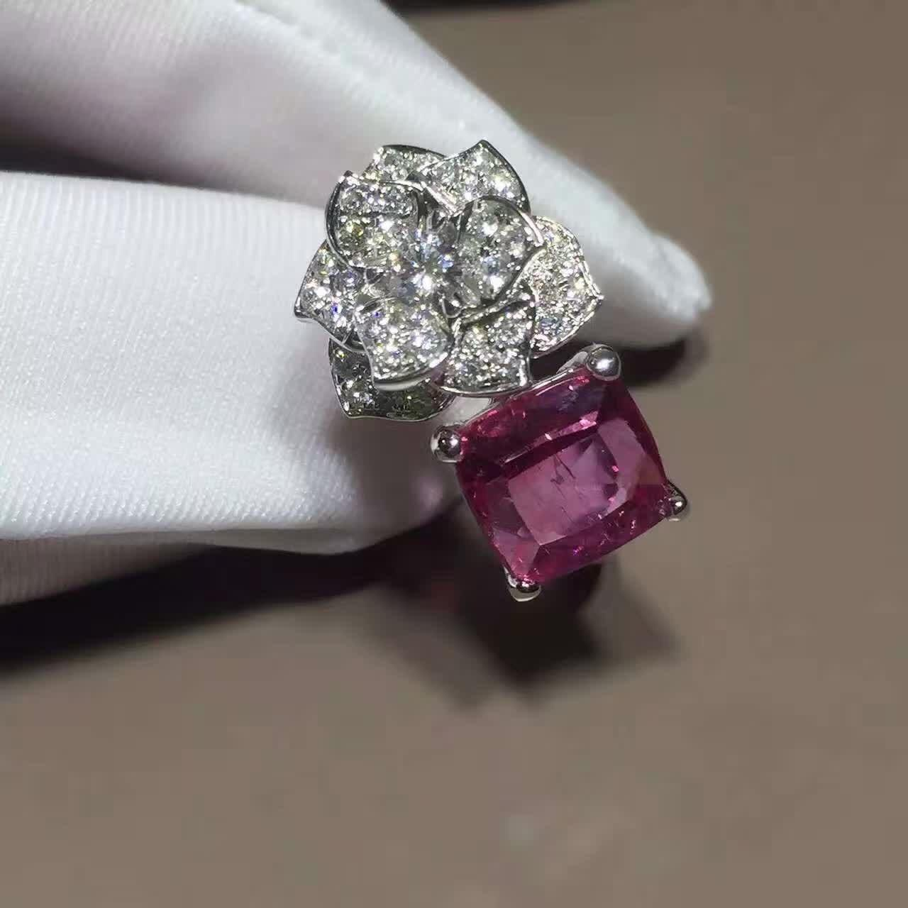 Buy cheap 18K White Gold Piaget Rose Flower Ring G34UU600 With Cushion - Cut Pink Tourmaline from wholesalers