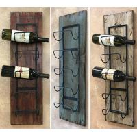 Buy cheap wine rack wall wood 5 bottle holder with metal home decor from wholesalers