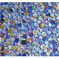 Buy cheap Blue Mix Penny Round Iridescent Glass Mosaic Tile from wholesalers