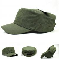 Buy cheap Emblem Logo Vintage Flat Top Army Cap For Men Self Strap / Metal / Velcro Closure from wholesalers