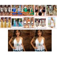 Buy cheap European style deep V-neck halter top ladies short paragraph bottoming openwork crochet to from wholesalers