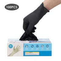 Buy cheap Latex Free Disposable Medical Gloves Anti Allergic High Wear Resistant Black Color product