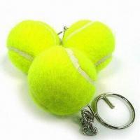 Buy cheap Tennis Ball Keychain with Chrome Ring, Measures 40 mm product