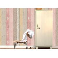 Buy cheap Colorful Wood Embossed Vinyl Wallpaper With Foam Surface Treatment , Vertical Stripe Type product