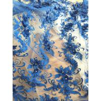 Buy cheap 3D Rhinestone Beaded Tulle Fabric , Embroidered Royal Blue Lace Fabric For Bridal Gown from wholesalers