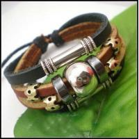 Buy cheap Charm men / women Custom Leather bangles Bracelets with pendant from wholesalers