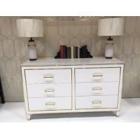 Buy cheap White High Gloss Hotel Room Dresser 6 Drawers With Metal Strip , PU Lacquer Paint from wholesalers