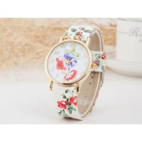 Buy cheap Fashion Trend Exquisite Geneva Ladies Floral Leather Watch Strap Watch from wholesalers