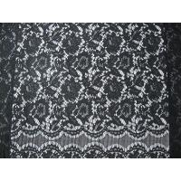 Buy cheap Black Nylon Corded Lace Fabric Floral Knitted Shrink-Resistant from wholesalers