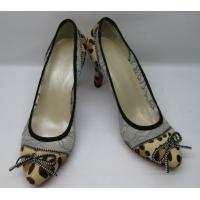 Buy cheap Sexy Mesh Lace Fabric Leopard Horse Ladies High Heeled Shoes With Zipper from wholesalers