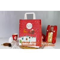 Buy cheap Christmas paper shopping bag, shopper, Customized Reusable Brown baguette bag /kraft paper bread bag with window, handle from wholesalers