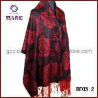 Buy cheap Red Color Botany Floral Wool Tassel Scarf Suzhou Dress (RF05-2) from wholesalers