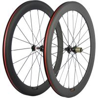 Basalt Braking Surface 60mm Carbon Fiber Bike Wheels Rims For Race Bike Black Red