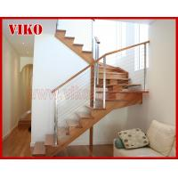 Buy cheap Steel Cable Stair VK77SC Carbon Steel Powder-coate  Aluminum Baluster  Treed Beech  Handrail 304 Stainless Steel  Glass from wholesalers