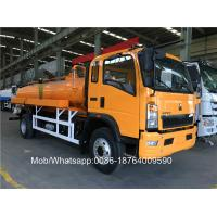 Buy cheap Sinotruk 4x2 8000 Liters Yellow Color Sewage Suction Truck Italy Brand Vacuum Pump from wholesalers