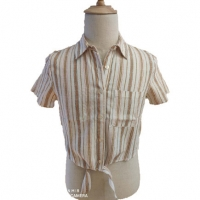Buy cheap Tie Front Short Sleeve Female Brown Striped Blouse from wholesalers