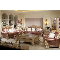Buy cheap Luxury Sofa sets by Beech wood craft design in golden color painting and Imported Italy Leather for Villa living rooms from wholesalers