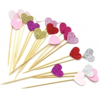 Buy cheap 7 Colors Peach Heart Cake Party Paper Cupcake Topper from wholesalers