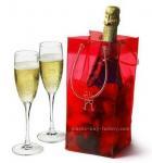 Shiny Transaprent Wine Bottle Cooler Bag Cooling Ice Bag With Long Lifetime