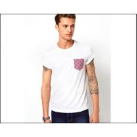 Buy cheap mens blank white tee shirt with printed Pocket  oem logo service from wholesalers