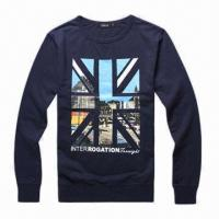 Buy cheap Men's Classic Crew Neck Sweatshirt, Made of 100% Cotton, with Ribbed Collar, Cuffs and Hem from wholesalers