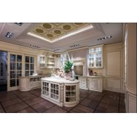 Buy cheap Beckham classicalsolidwood Kitchen cabinet with classical column and decorative arc shape and with glass door BS8031KC from wholesalers