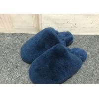 Buy cheap Navy Blue Fluffy Sheep Wool Slippers Quake Proof With Double Face Sheepskin from wholesalers