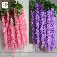 Buy cheap UVG WIS006 Indoor cheap fake flowers with silk wisteria for home decoration from wholesalers