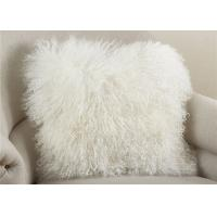 20 Inch Square White Fuzzy Pillow Cover , Soft Mongolian Fur Lumbar Pillow
