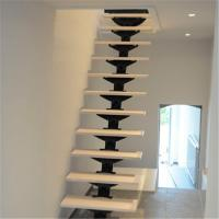 Buy cheap Fancy interior indoor build floating staircase with solid wood step from wholesalers