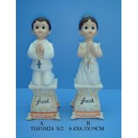 Buy cheap Baptism And Praying Polyresin Figurine Baby , Gold And White Color 6.8 X 6.8 X 21.3cm from wholesalers