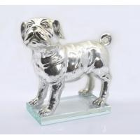 China Polished Silver Poly Resin Dog Figurines / Customized Size Modern Resin Dog Statue on sale