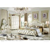 Buy cheap Bedroom Furniture Antique French Style King Size White Leather Wooden Bed from wholesalers