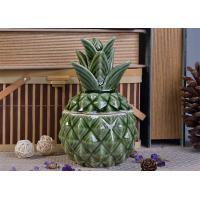 Buy cheap Green Glazing Pineapple Ceramic Candle Jar with lid for wedding decor from wholesalers