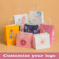 Buy cheap Stand Up Kraft Paper Gift Wrapping Bags Custom Gravure Printing With Handle product