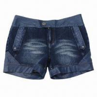 Buy cheap Women's Denim Shorts with Knit Slub Cotton/Spandex Fabric from wholesalers