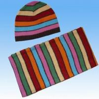 Buy cheap Angora Striped Hat and Scarf Set from wholesalers