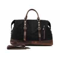 Buy cheap Genuine Leather Shoulder Oversized Canvas Travel Duffel Bag from wholesalers