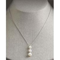 Buy cheap three pearl akoya pendant necklace,925 silver jewelry from wholesalers