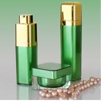 Buy cheap Golden Pump Acrylic Lotion Bottles Jars, Green Square Acrylic Cosmetic Package Bottle Jars product