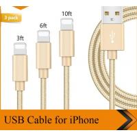 Buy cheap 3FT 6FT 10FT USB Nylon Braided USB Data Cable iPhone Charger Cord 1m 1.8m 3m from wholesalers