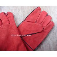 "Quality High quality 14"" Red color Cow Split Welding Gloves/Safety Gloves / Working Gloves for sale"