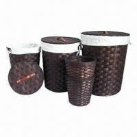 Buy cheap Round Lidded Wood Weave Laundry Storage Baskets, Set of 5, Chocolate/Nature Body Color, Brown Handle from wholesalers