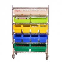 Buy cheap Chrome Wire Shelving with Plastic Storage Bin Storage trolley for tool storage from wholesalers