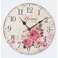 Buy cheap Rustic Farmhouse Worn Blue and White Antique Roman Number Metal Wall Roman Numeral wood carving wall clock for Home from wholesalers