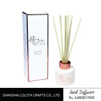 Buy cheap White Painting Round Bottle Home Reed Diffuser With Simple Folding Box from wholesalers