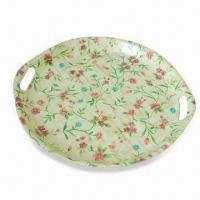Buy cheap Round-shaped Fruit Tray with Flower Decoration, Made of Bamboo, Measures 46.5 x 43.5cm from wholesalers