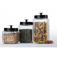 Buy cheap set of three glass canisters with metal lids ,different size and various colors  for storing product